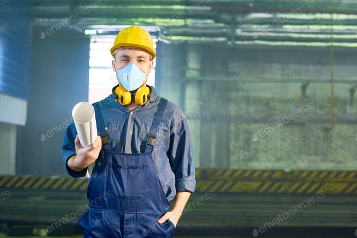 Young Worker at Modern Plant