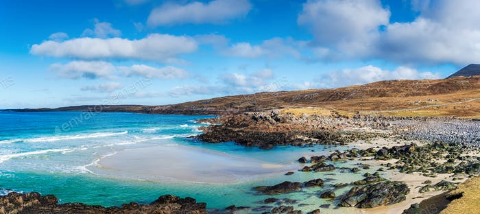 The beautiful coastline and beach at Mealista on the Isle of Lewis