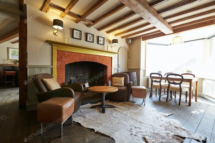 Empty Seating Area In Elegant Hotel Bar