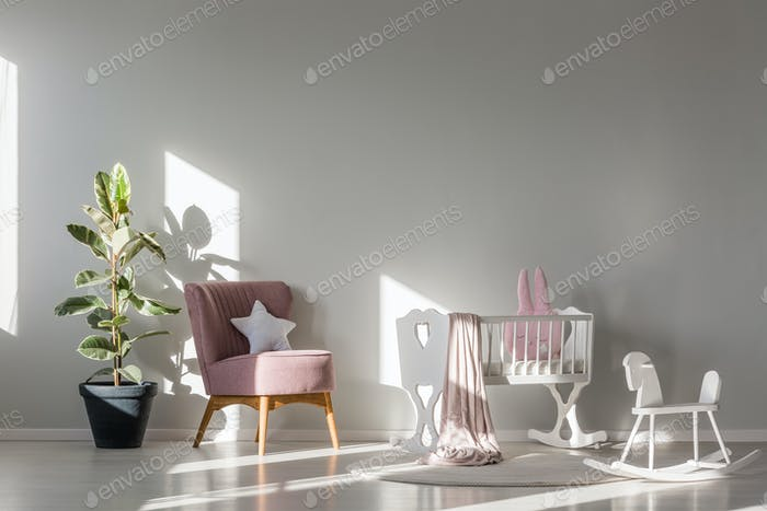 Kid room with white cradle