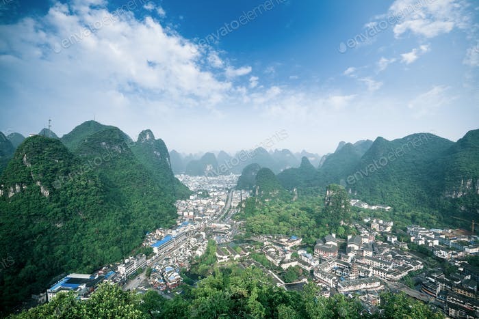 overlooking the yangshuo county,China