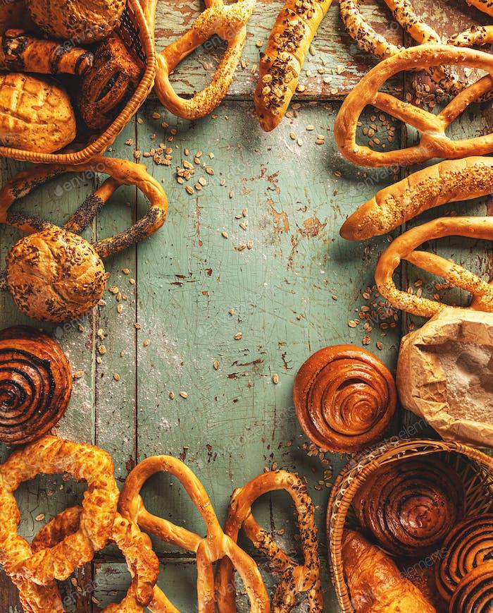 Frame of fresh sweet bakery assortment