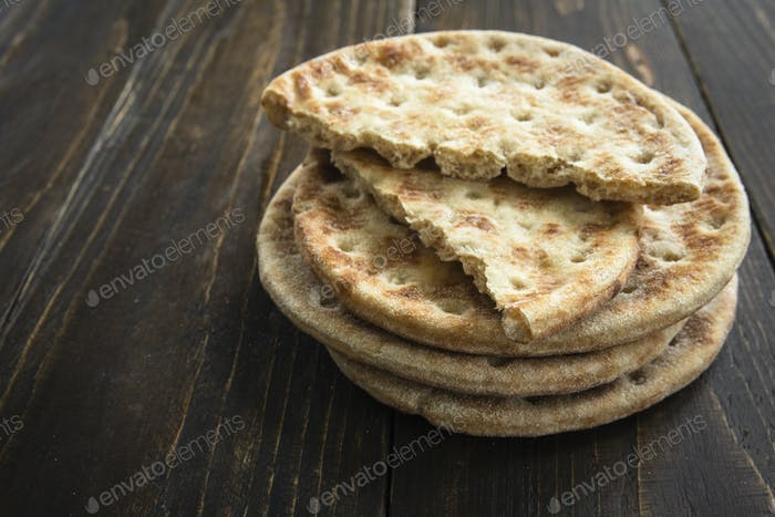 Stack of soft unleavened flatbread
