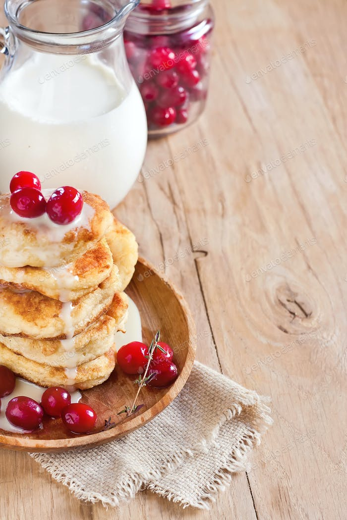 Russian quark pancakes background