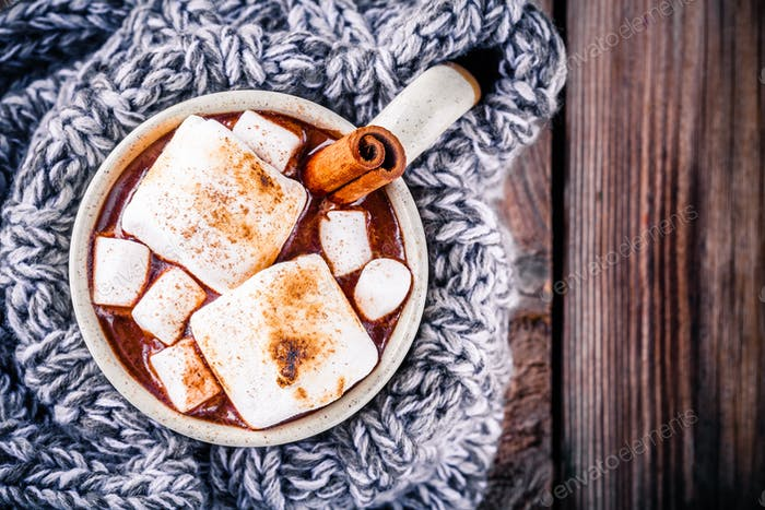hot chocolate with marshmallows and cinnamon in mug
