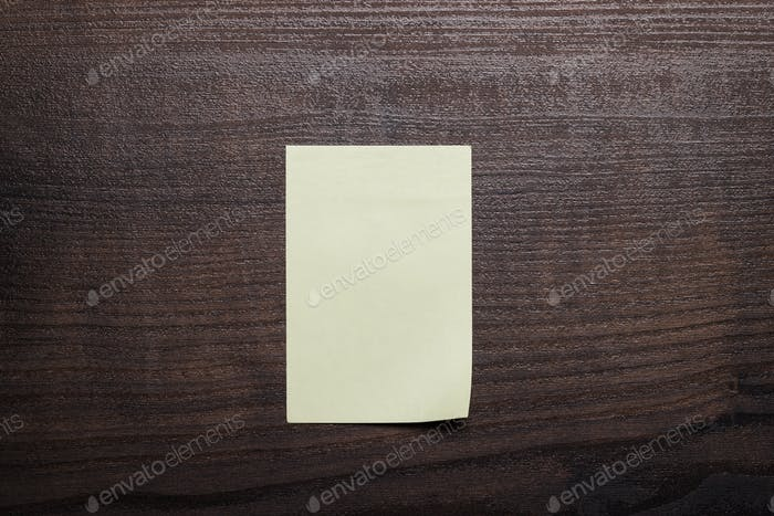 Blank Sticker On Brown Wooden Table