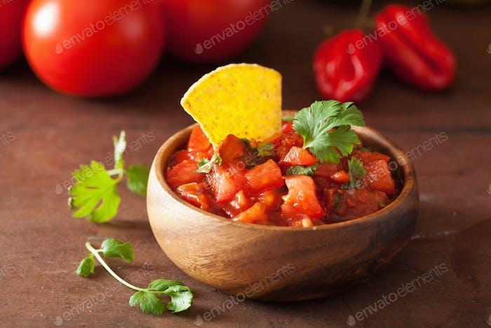 mexikanische Salsa Dip und Nachos Tortilla-Chips