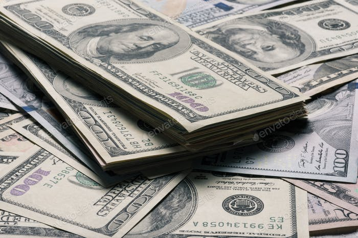 close up view of dollar banknotes background