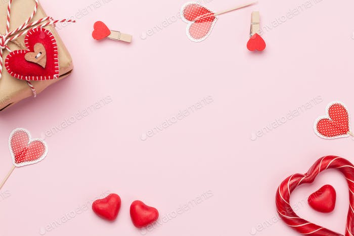 Valentines day card with sweets and gift box