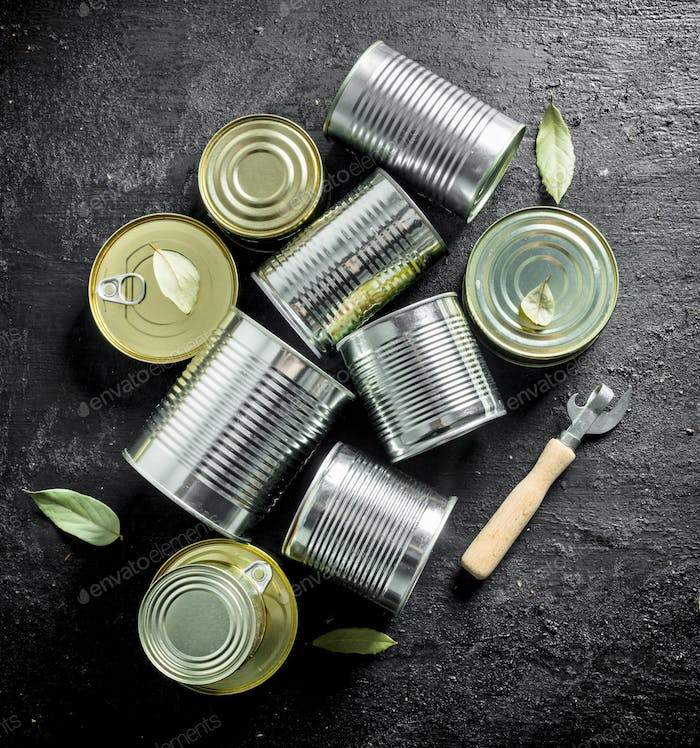 Assortment of different types of tin cans with canned food.