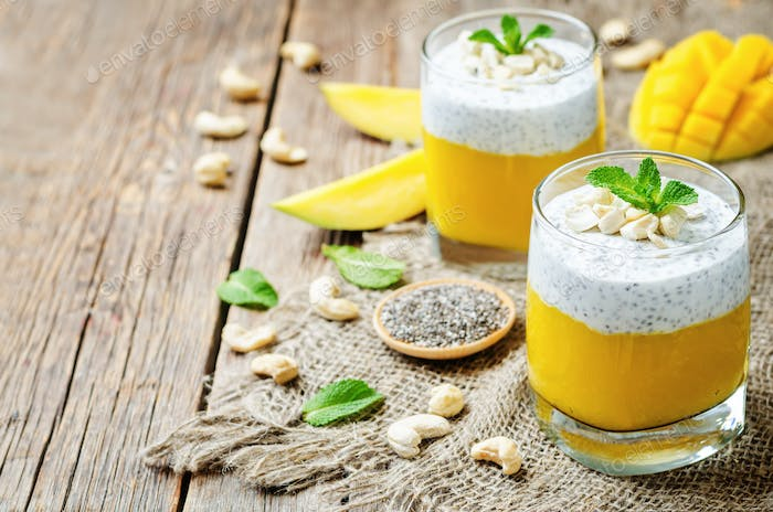 Mango Greek yogurt Chia seeds pudding with cashews
