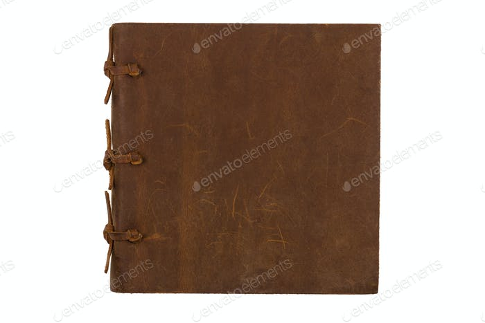 square notebook with leather brown cover on white background
