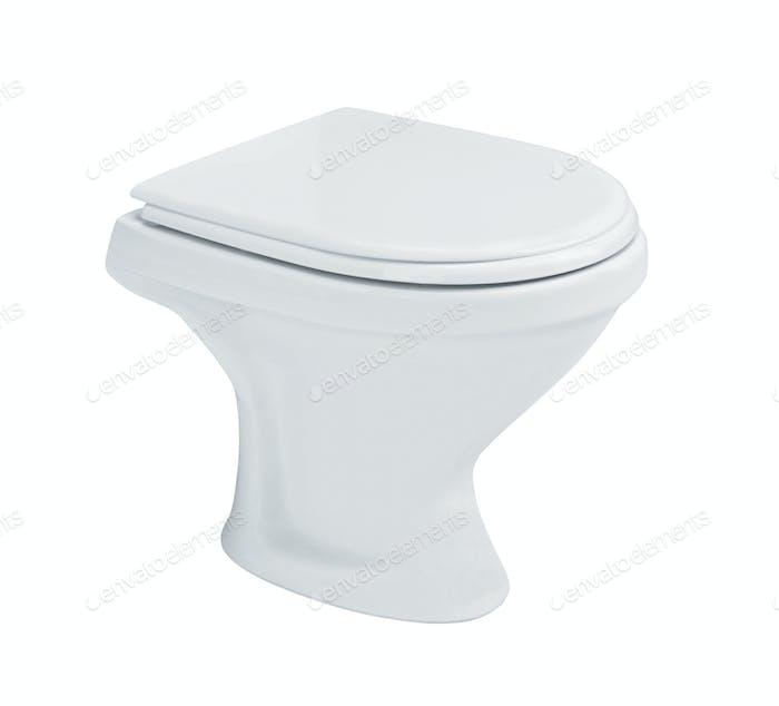 White toilet bowl isolated on white
