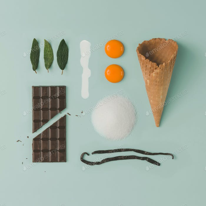 Chocolate mint ice cream recipe. Infographic food style. Flat lay. Cooking concept.