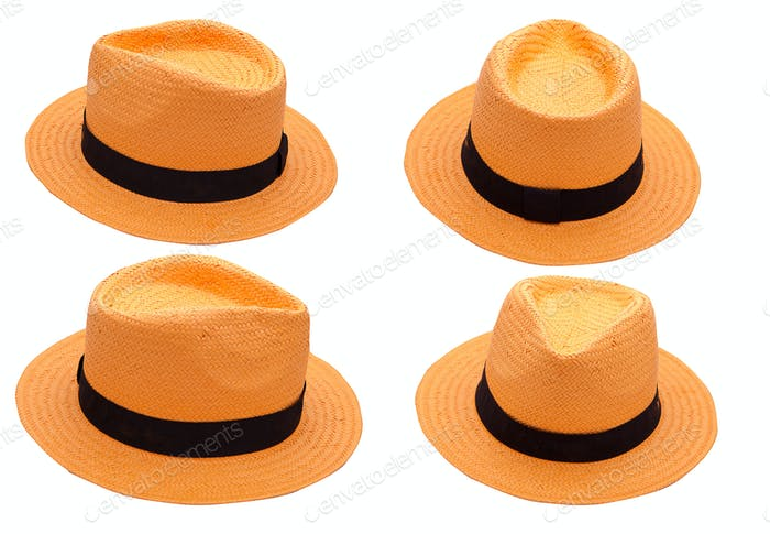 orange hat on white background isolated