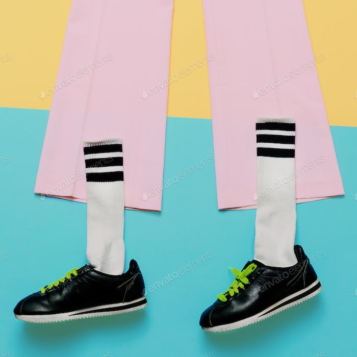 Fashion Training Sneakers and socks. Art minimal style design Co
