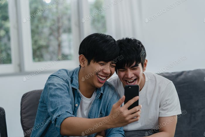 Asian influencer Gay couple vlog at home.