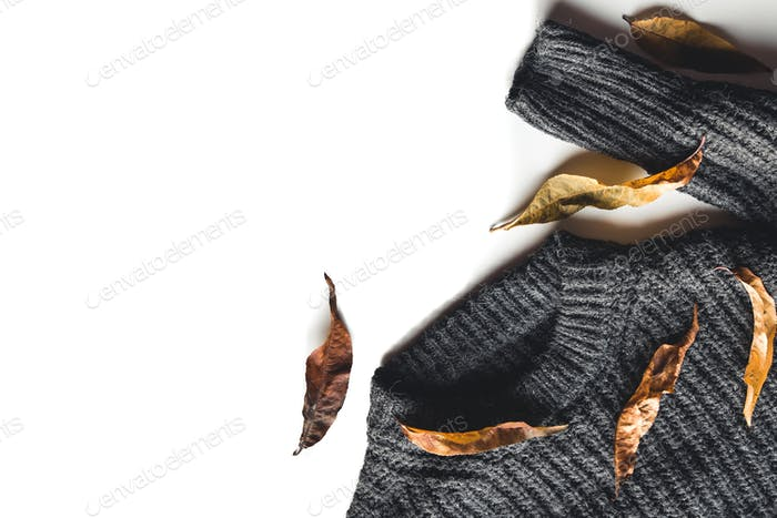 Autumn composition. Knitted woolen sweater dry leaves on white background top view copy space