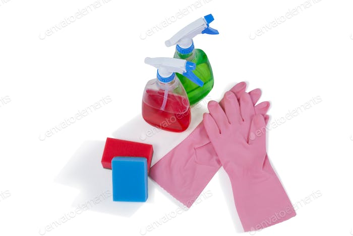 Detergent spray bottles, sponge pad and rubber glove on white background