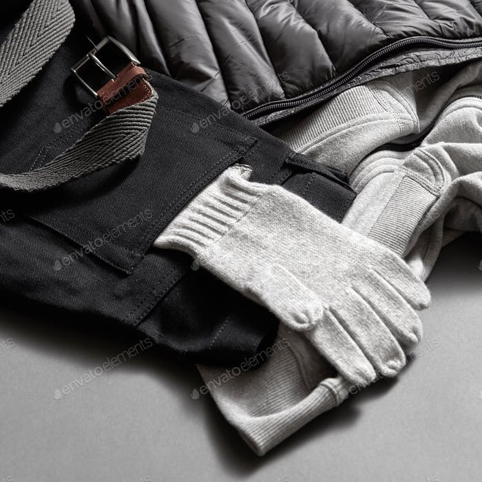 gray warm gloves winter clothes