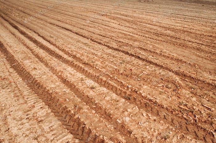 Plowed field land