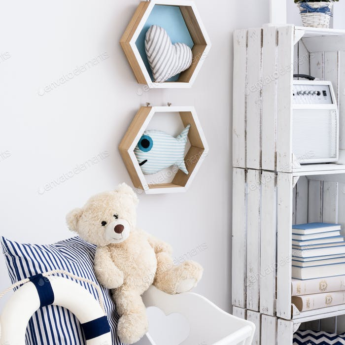 White child room with nautical decorations