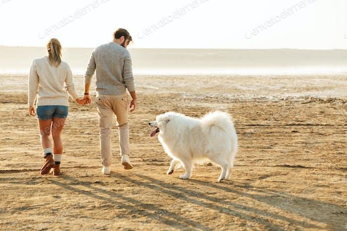 Paar im Freien am Strand zu Fuß mit Hund samoyed.