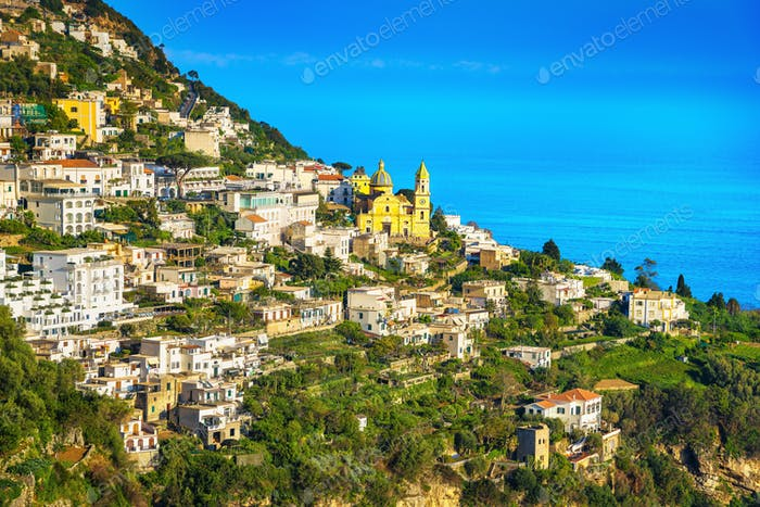 Praiano town in Amalfi coast, panoramic view. Italy