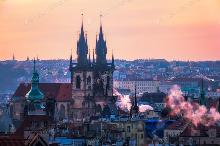 Scenic view of Prague old town cityscape at sunrise, Czech Repub