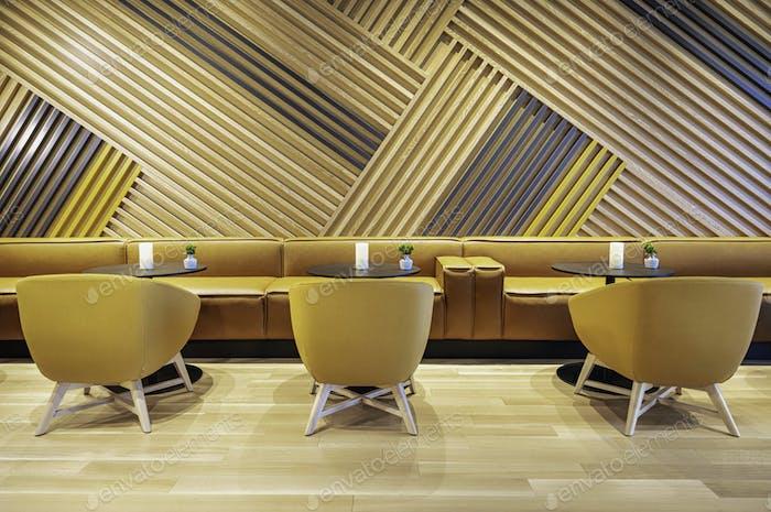 Modern Interior. Wooden wall