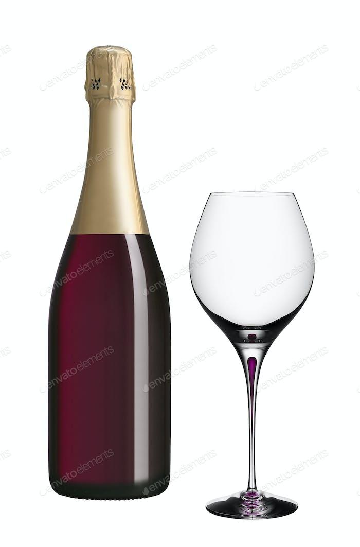 Sektflasche und Glas isoliert