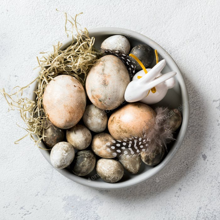 Easter composition eggs painted in plates with feathers and a rabbit.