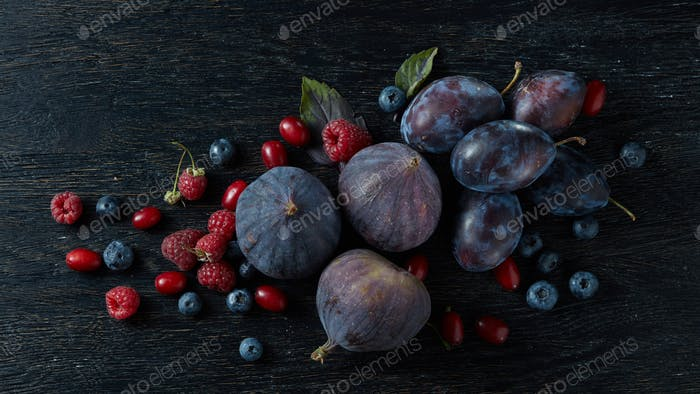 berries bunch, basil and figs