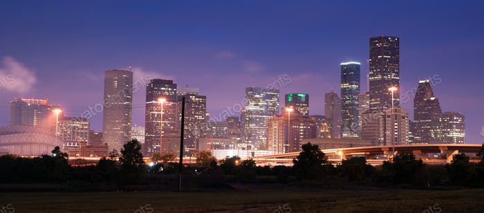 Night Panoramic Composition Downtown City Urban Skyline Houston