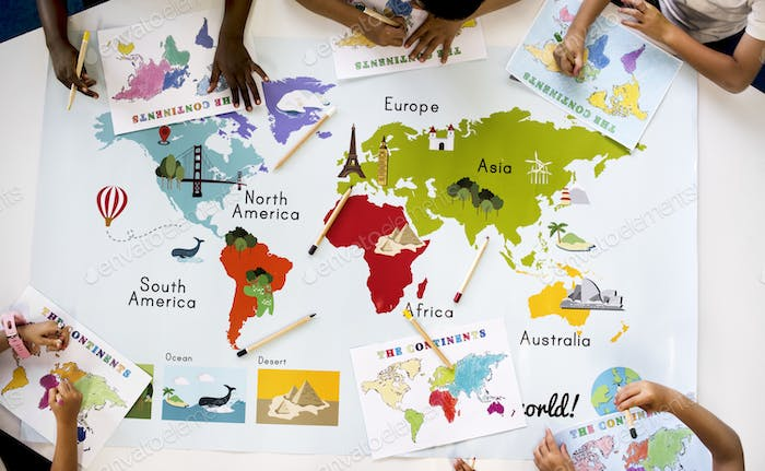 World Maps With Countries For Kids