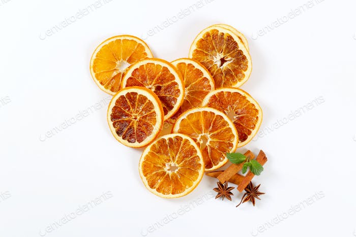dried orange slices with spices