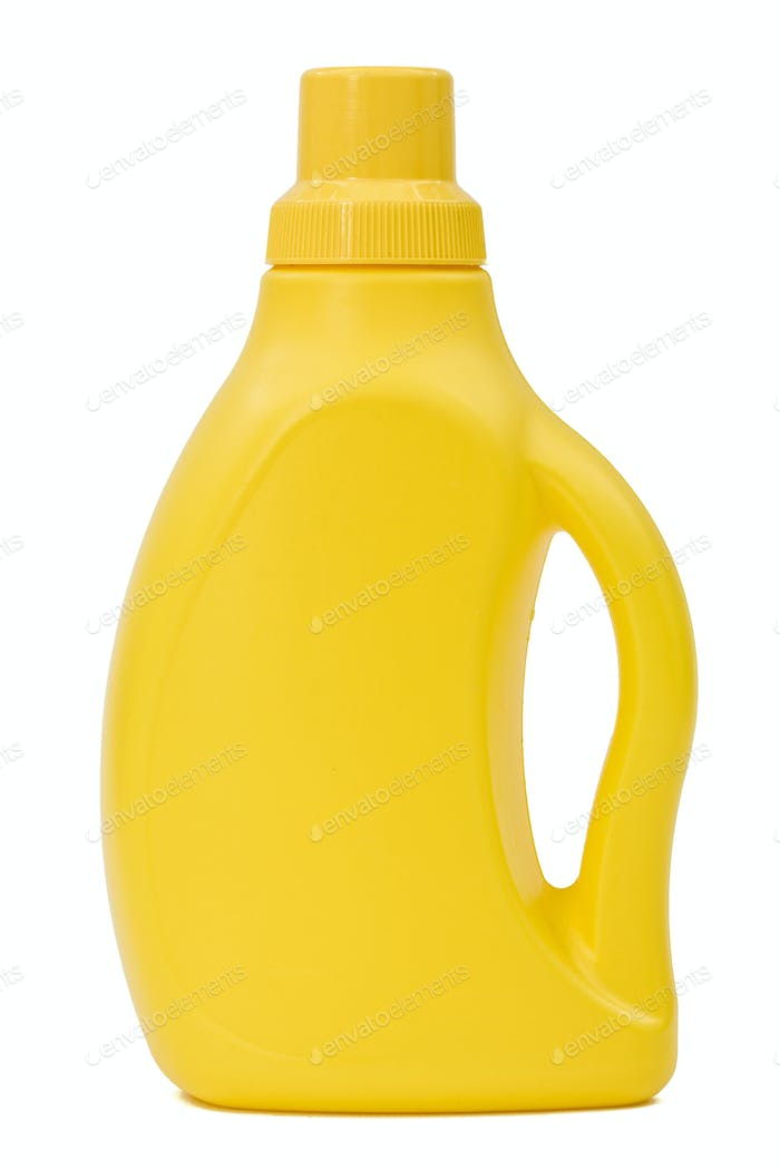 Yellow plastic canister, isolated on white background