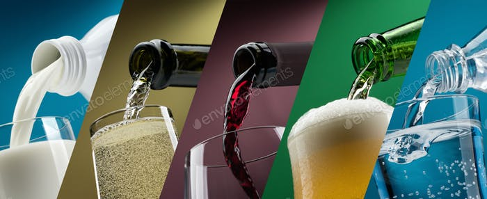 Pouring drinks into glasses photo collection