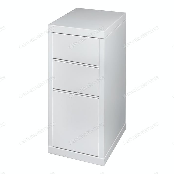 White Cabinet with drawers isolated on white