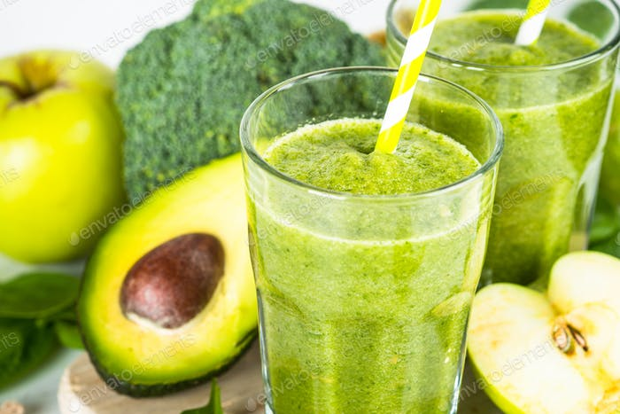 Thumbnail for Green smoothie from fruit and vegetable on white