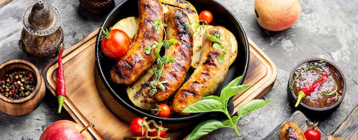 Tasty grilled pork sausages