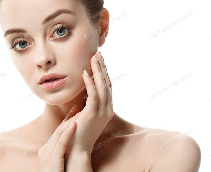 Healthy skin woman beauty female natural makeup pure skin portrait. Girl touching her face.