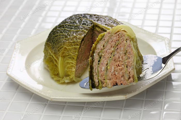 chou farci, stuffed cabbage,traditional french cuisine