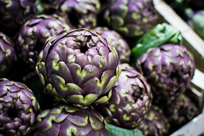 Organic purple artichoke at a local farmers market