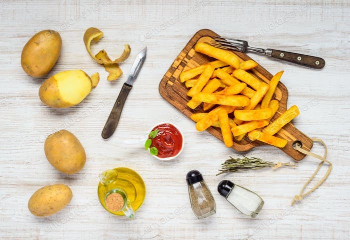 French Fries with Ingredients and Condiments