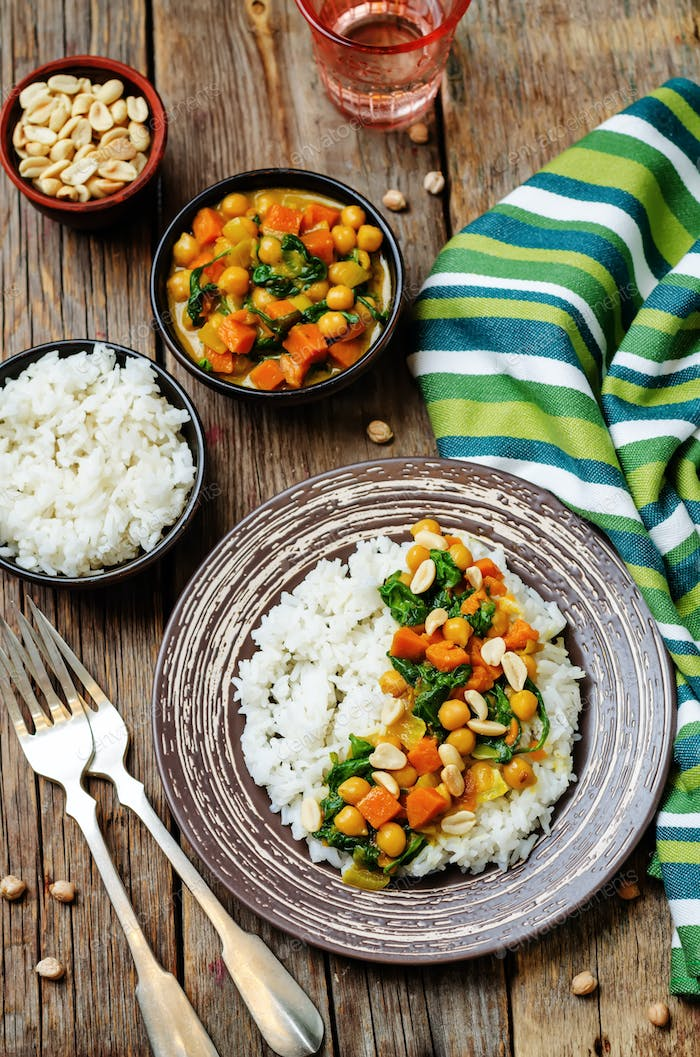 Sweet potato spinach chickpea curry with rice