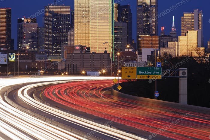 Freeway Traffic at Dusk on I-30