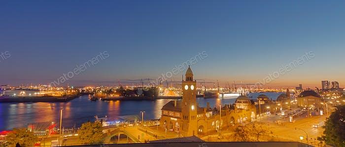 Panorama of the Hamburg harbor