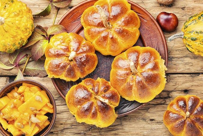 Homemade sweet pumpkin buns