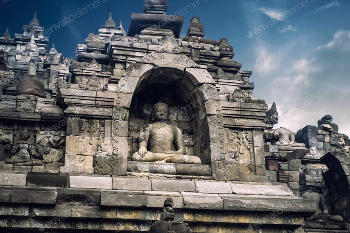 Ancient Borobudur Buddhist temple. Java, Indonesia